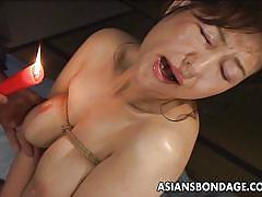 bdsm, asian, busty, candle, brunette milf, ropes, hot wax, asians bondage