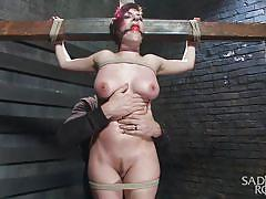 sadism, crucified, pussy rubbing, busty babe, ballgag, leather whip, punk girl, rope bondage, sadistic rope, kink, iona grace