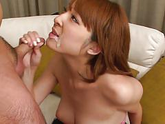 Japanese whore get covered in cum