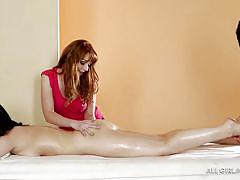 Three girls, one kinky massage