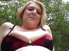 Mature blonde has some fun in the park