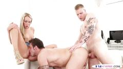 Tattooed jock assfucked while licking pussy