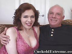 Red hairy muff stuffed with stranger's cock