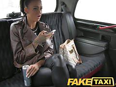 Faketaxi sexy hot brunette with tattoos and piercings gets fuck in a taxi