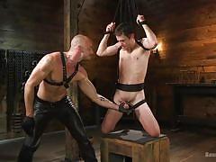 blindfolded, rope bondage, bdsm, big cock, blowjob, whipping, handjob, domination, electric wand, bound gods, kink men, cameron kincade, jessie colter