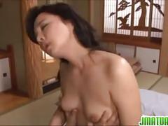 Horny mature enjoys giving hot blowjob