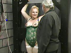 fetish, mature, tube8.com, mother, grandma, lingerie, stockings, clamps, blonde, bondage, tied, submissive, slave, punishment, discipline
