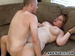 Chubby amateur girlfriend sucks and fucks at home