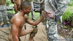 Hot shirtless video of army gay jungle smash fest