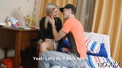Horny tutor seduces a little blonde honey