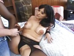 amateur, brunette, hardcore, milf, pussy, stockings, black hair, fishnets, newbie, reverse cowgirl, shaved pussy, spoon