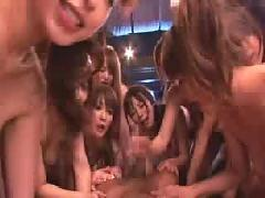 Huge asian secretary sex orgy,  lots of hot japanese babes fuck one guy