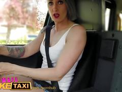Femalefaketaxi fitness babe stretches her pussy