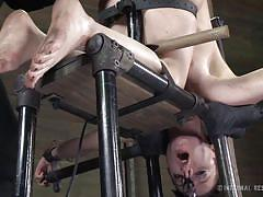 milf, bdsm, vibrator, black hair, basement, ass slapping, clamps, bondage device, restraints, infernal restraints, hazel hypnotic, cyd black