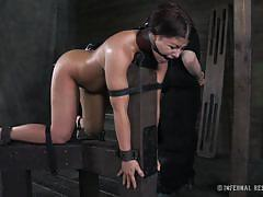 milf, bdsm, interracial, round ass, brunette, from behind, mouth gagged, bastonnade, anal hook, drill, immobilized, infernal restraints, mia gold