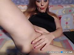 Modelscope lollipopgirl masturbates shaved pussy and nice tits