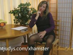 Silky thighs lou shows off her mature body