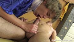 Two uncut cocks massage blowjob