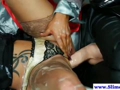 Jizz drenched lesbos messy at gloryhole