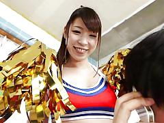 babe, japanese, cheerleader, busty, brunette, cosplay, sucking tits, cosplay in japan, erito