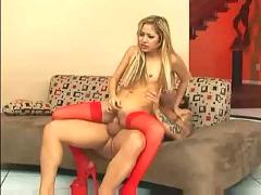 Kat fucking in red stockings