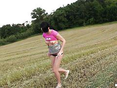 Babe suck my dick in the field