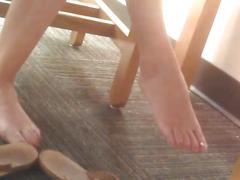 Candid redhead feet