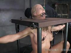 blonde, milf, vibrator, humiliation, bdsm, pig, bondage, tears, crying, nipple-clamps, device-bondage
