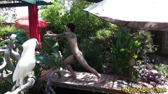 Asian does naked yoga