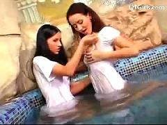 2 slim girls in white dresses kissing patting getting naked in the pool sucking dildo