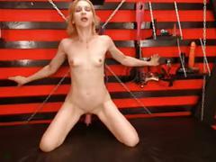Milf gags hard on dildo, rides it in pussy hard till cum
