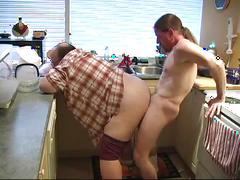 Scott banging horny daddy in the kitchen