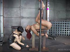 milf, bdsm, spanking, ebony, redhead, vault, gas mask, restraints, real time bondage, daisy ducati, nikki darling