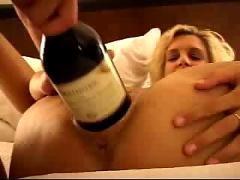 Fucking huge dildos, bottle and double fist