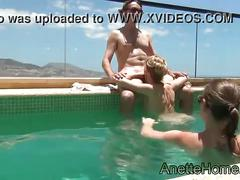 Blowjob at the pool 2 girls and 1 guy