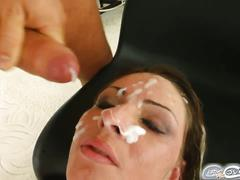 Garbriella's blindfolded and soaked in cum