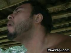 Outdoor bareback sex with two young latino studs.