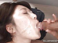 Japanese slut gets a face full of cum