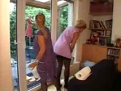 German cleaning women in the work