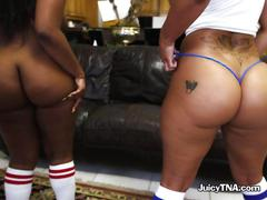 Two hot gals show off their sweet asses