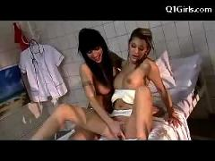 Tattoed girl becomes conscios in the jail hospital getting her pussy fingered licking in 69 on the bed