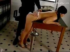 Police woman spanking girl rubbing with baton getting her pussy licked fingered in the office