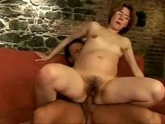 Nerdy pregnant girl hardcore fuck