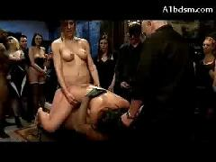 Busty asian girl throated getting her pussy fucked by many men sucking dp strapon on the dungeon party