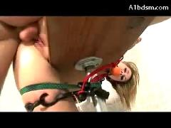 Busty girl mouth gag tied to bench getting her pussy fucked using pussy pump