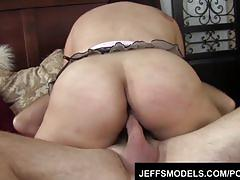 Chunky asian chick tyung lee take a fat cock into her mouth & pussy