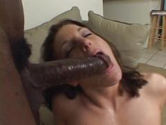 Little peach tits brunette ravaged by black cock in the living room