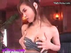 Hot girl in sexy dress getting her tits pussy and ass rubbed