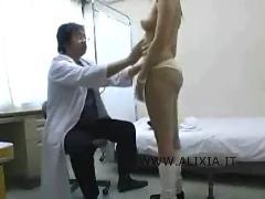 Piggy doctor with asian schoolgirls