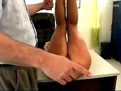 Busty blonde girl getting her ass spanked while masturbating sucking old mans cock on the desk in the office
